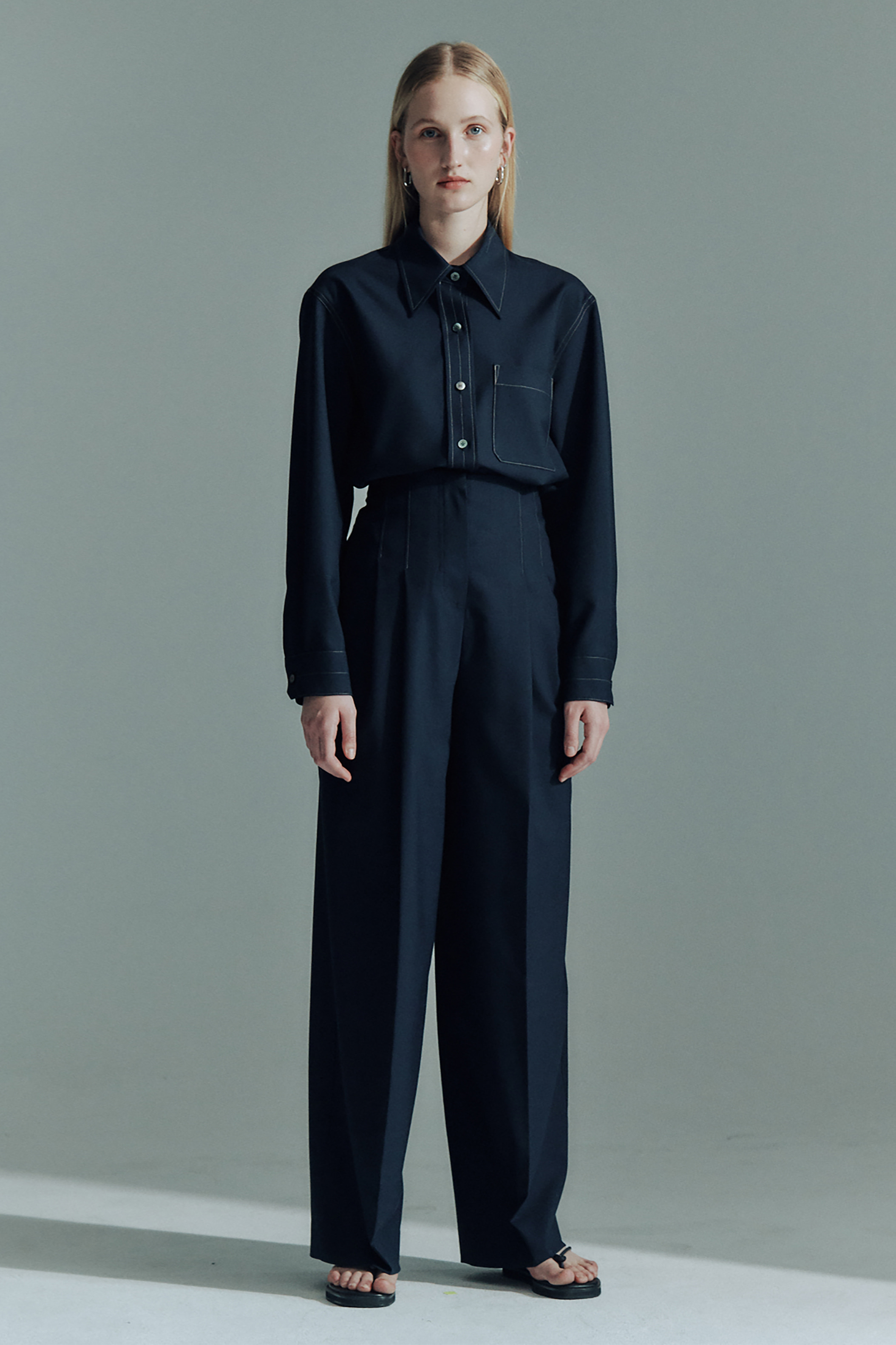 WOOL CONTRAST STITCH SHIRTS_DARK NAVY